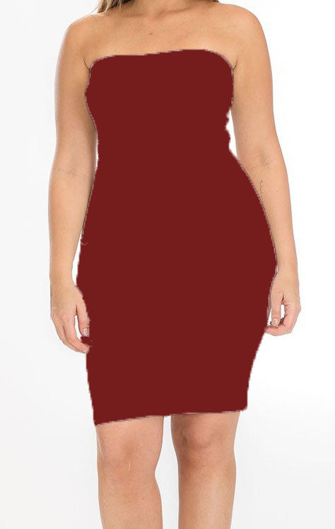 plus size strapless bodycon dress