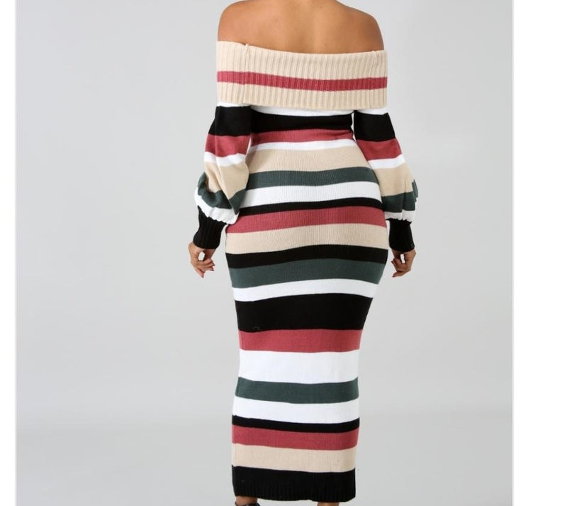stripped off the shoulder sweater dress