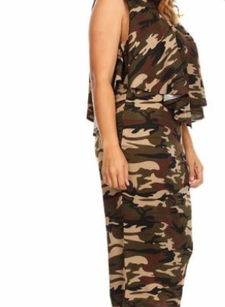camouflage Layered topped Dress
