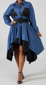 Denim and Leatherette Flare Dress