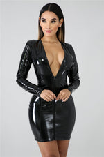 JRRY Women PU Leather Dresses Long Sleeve Zippers High Elasticity Sheath Clothing Deep v Neck Short Outdoor Wear