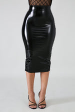 Temptation Skirt  in Shinny Black