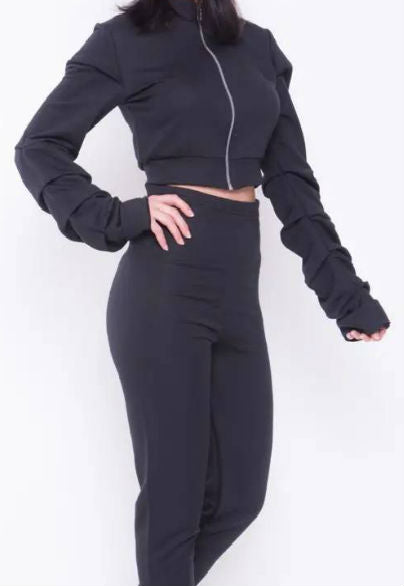 Puff Sleeves Zipped Crop Top sweat suit