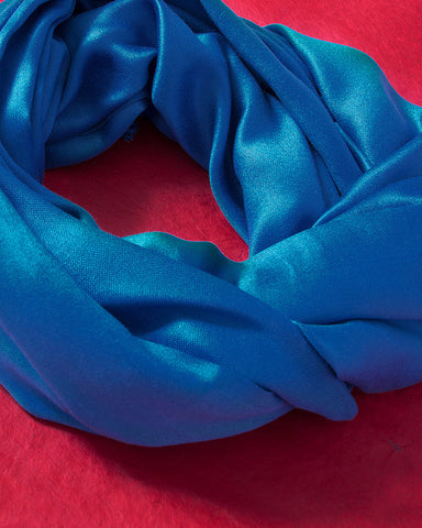 Blue Jewel Toned Silk Scarf