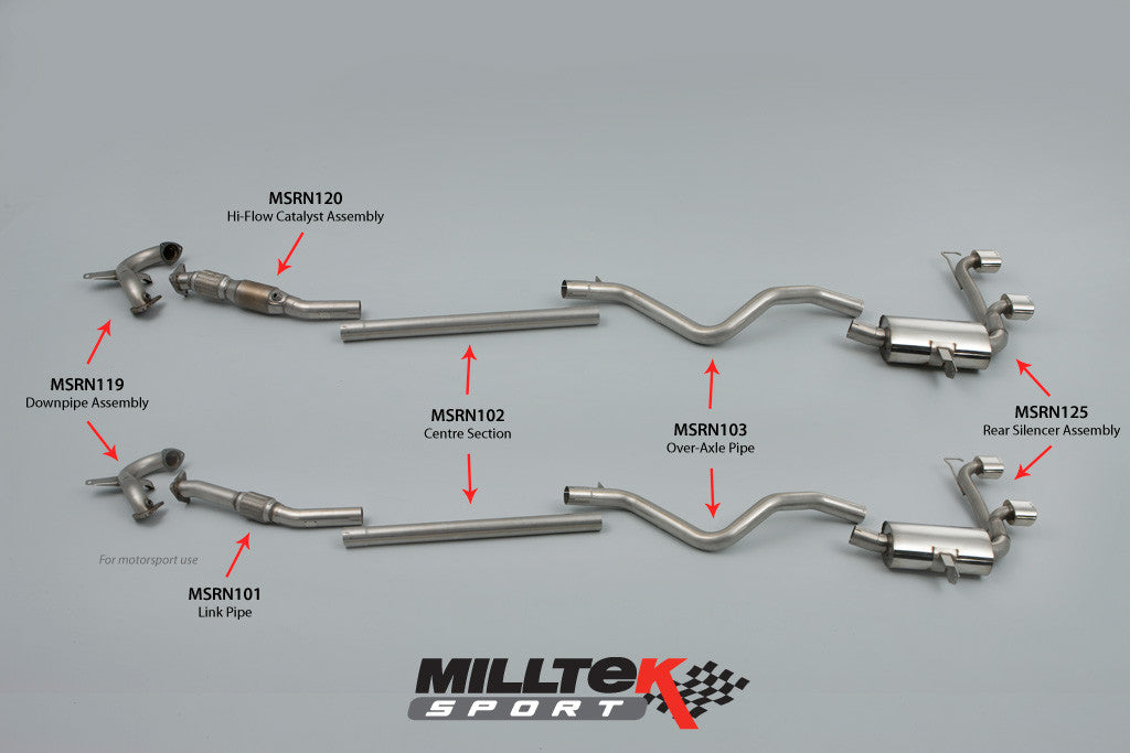 Milltek Exhaust Renault Mégane Renaultsport 225 2.0T Cat-back with Dual GT80 LITE tailpipe (SSXRN401)