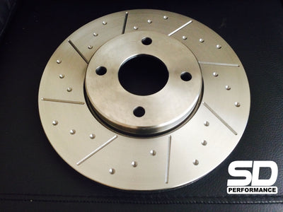 SD Performance Fiesta MK6 ST150 Performance 280mm front discs - Dimpled and Grooved