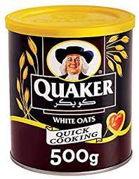 Quacker white oats tin