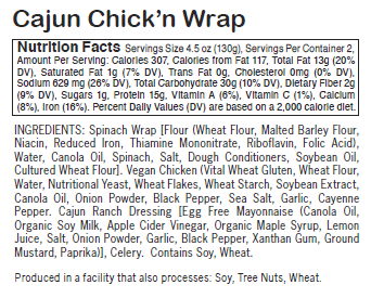 Cajun Chick'n Wrap - Sunneen Health Foods