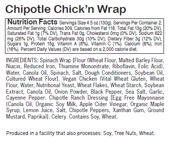 Chipotle Chick'n Wrap - Sunneen Health Foods