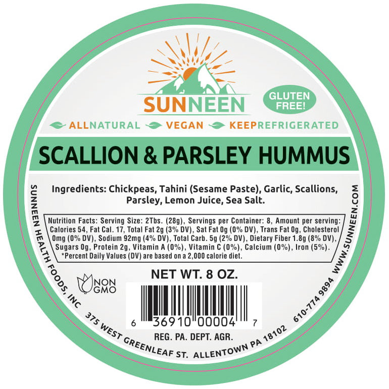Scallion & Parsley Hummus - Sunneen Health Foods