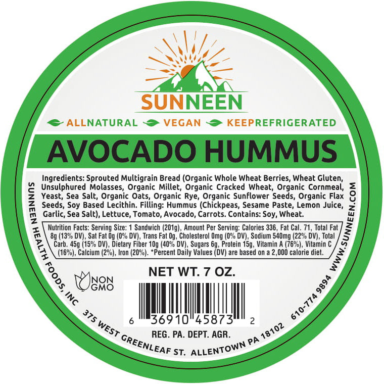 Avocado Hummus Sandwich - Sunneen Health Foods