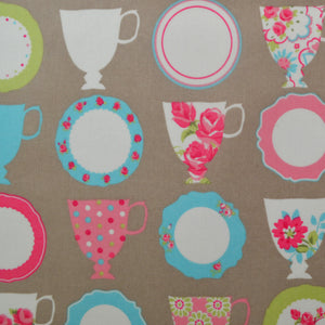 Teacups Taupe Oilcloth