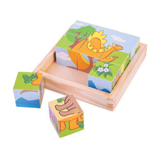 Load image into Gallery viewer, Dinosaur Bigjigs 9 Piece Wooden Building Blocks