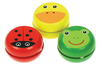Wooden YoYo examples Red ladybird, Yellow duck or Green frog
