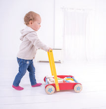 Load image into Gallery viewer, Bigjigs Baby Walker with wooden building bricks in all shapes