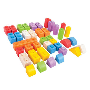 40 pieces Colourful WOODEN CLICK BLOCKS (INTERMEDIATE PACK) - STACKING BLOCKS.