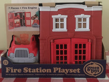 Load image into Gallery viewer, Green Toys Fire Station playset Made in the USA from 100% recycled plastic.