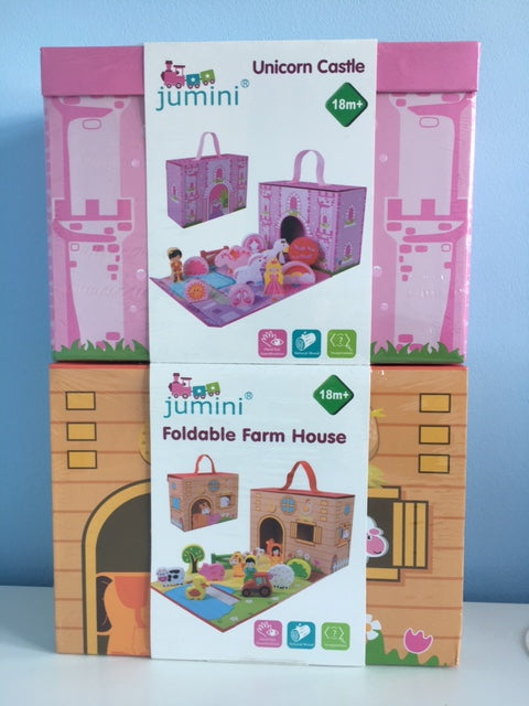 Jumini Foldaway Farm House 12pcs or Unicorn Castle 12pcs