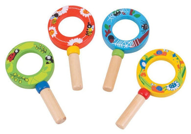 Wooden Mini Magnifying glass in green, red, blue or yellow