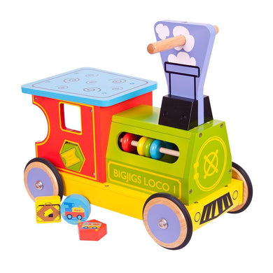 Bigjigs Wooden Ride On Train with shape sorter