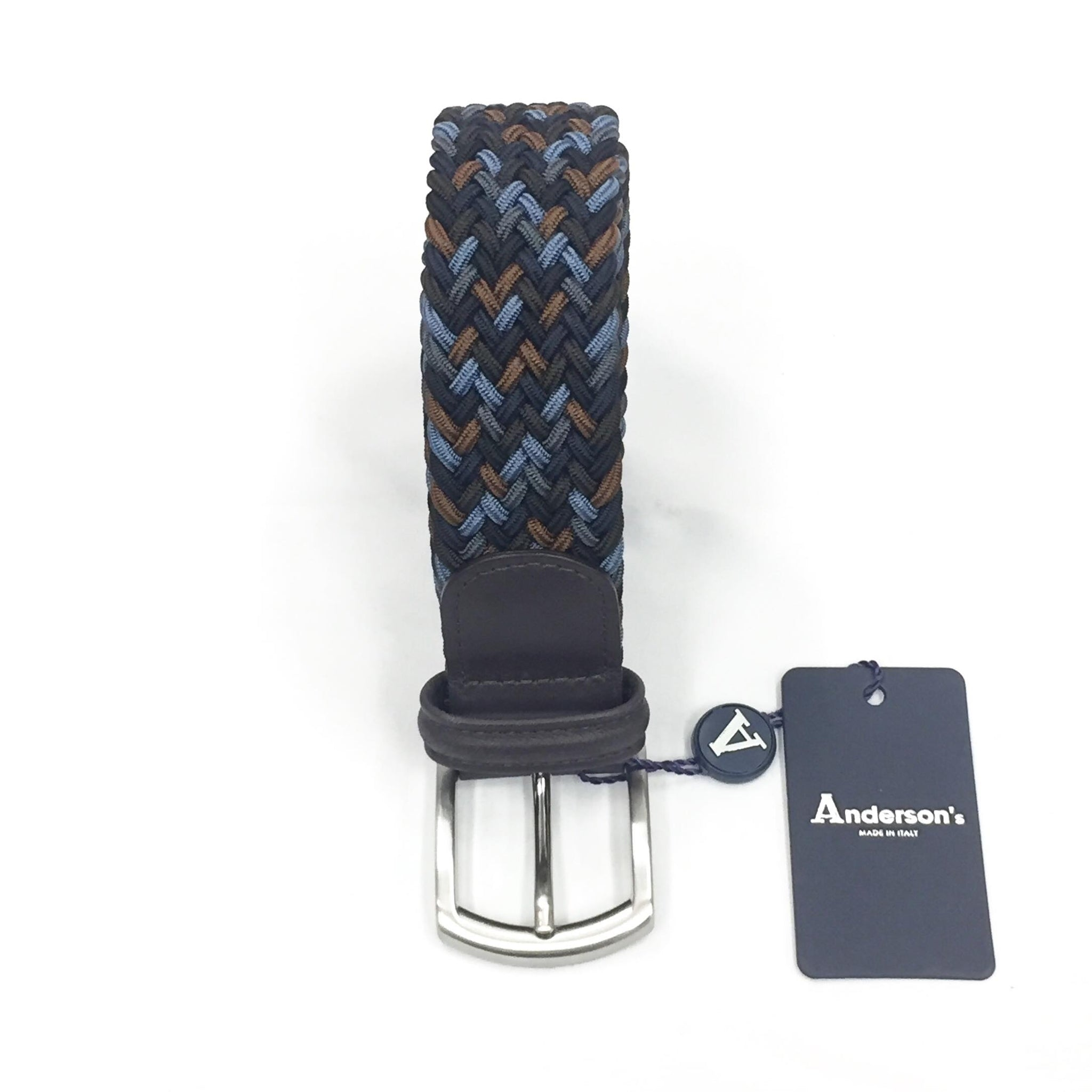 ANDERSON'S CLASSIC MULTICOLOR WOVEN ELASTIC BELT - BLUE / BROWN