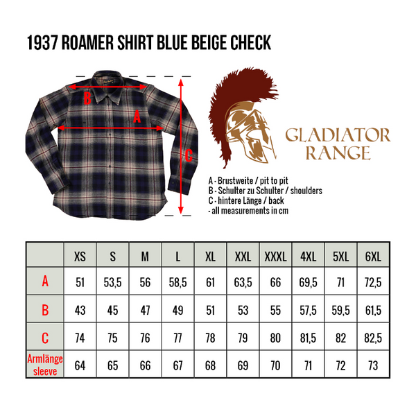 PIKE BROTHERS 1937 ROAMER SHIRT CHECK FLANNEL - BLUE BEIGE