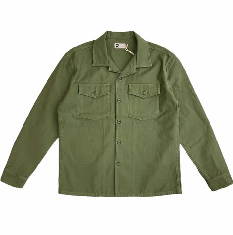 TELLASON FATIGUE SHIRT SATEEN - OLIVE