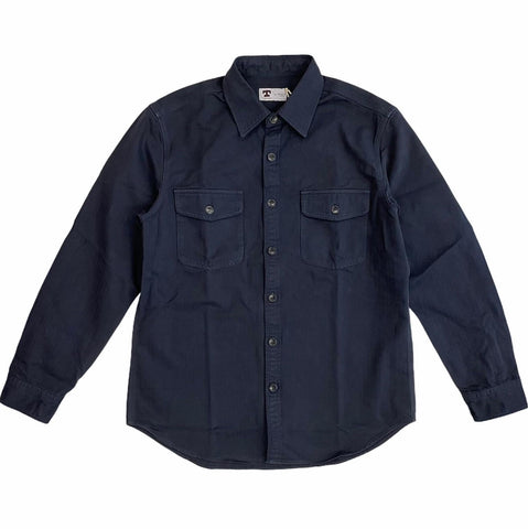 TELLASON OFFICER SHIRT HERRINGBONE - NAVY