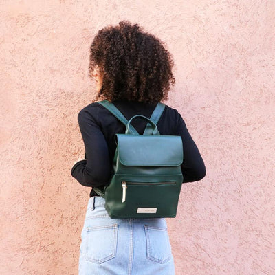 Vegan Green Rucksack, Women Backpack, School Style Backpack, Green Vegan Backpack, Faux Leather Backpack, Casual Backpack, Vegan Women Bag