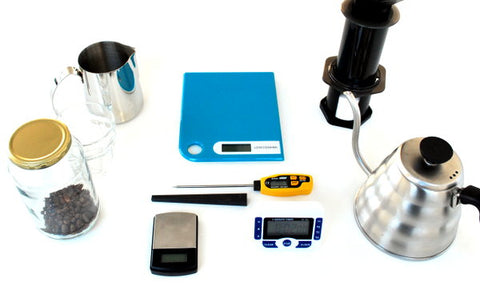 Equipment for brewing with the Aeropress for two