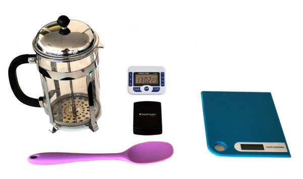 French Press Coffee Plunger With Spoon, Scale & Timer