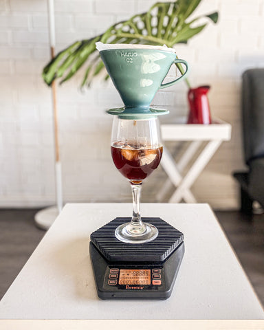 Hario V60 Pour over iced coffee into wine glass