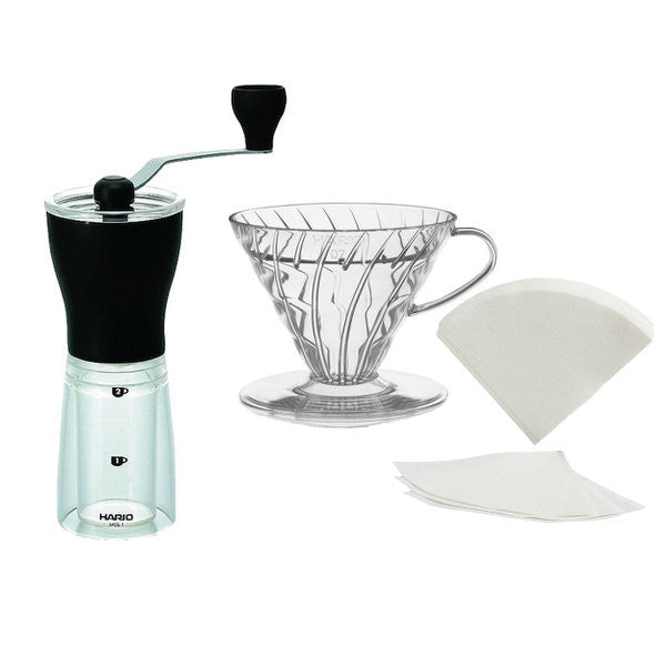 Hario Mini Mill, V60 Coffee Dripper & Filters