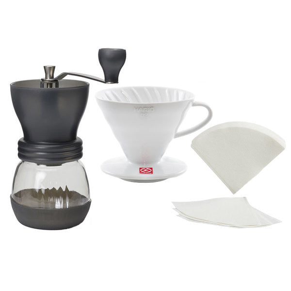 Hario Skerton with V60 Coffee Dripper & Filters
