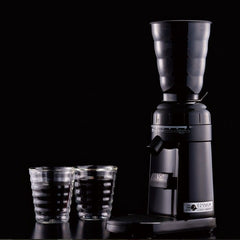 Hario V60 Electric Coffee Grinder On Black With Glasses