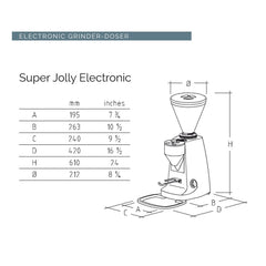 Mazzer Super Jolly Electronic OD Espresso Grinder Dimensions