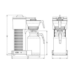 Technivorm MoccaMaster CDT Grand Thermos Filter Coffee Machine Drawing