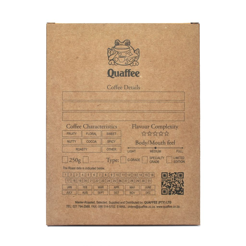 Quaffee box of specialty coffee beans