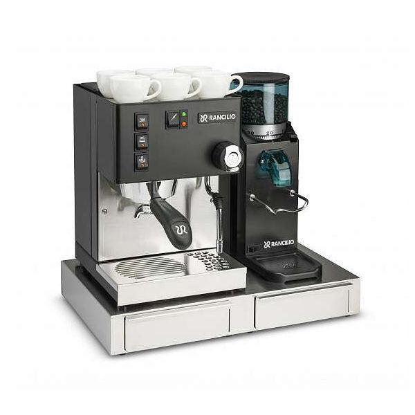 Rancilio Silvia & Rocky Black With Drawer Base