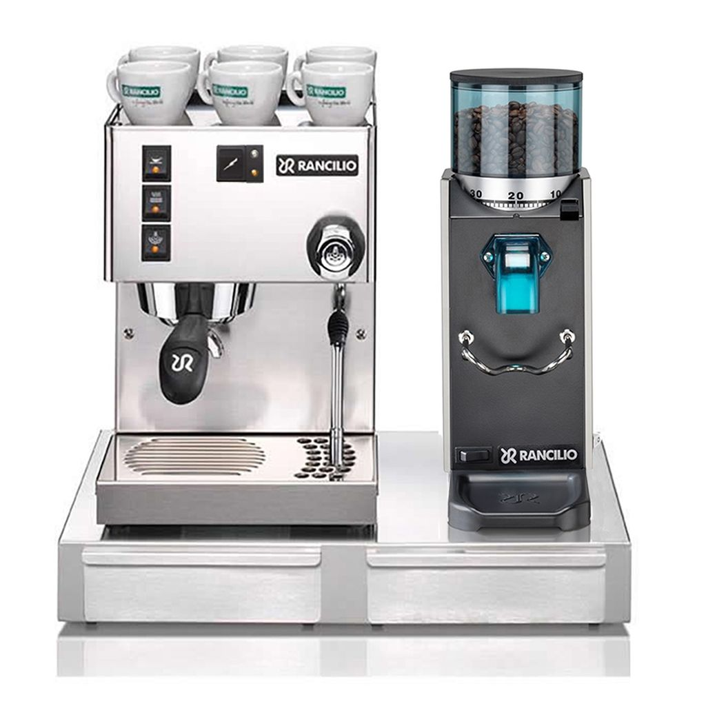 Rancilio Silvia With Rocky & Stainless Steel Drawer Base