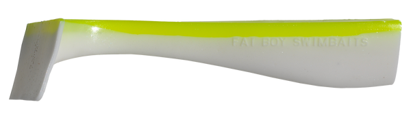 Pearl White/Chartreuse Back Fat Boy Swimbait