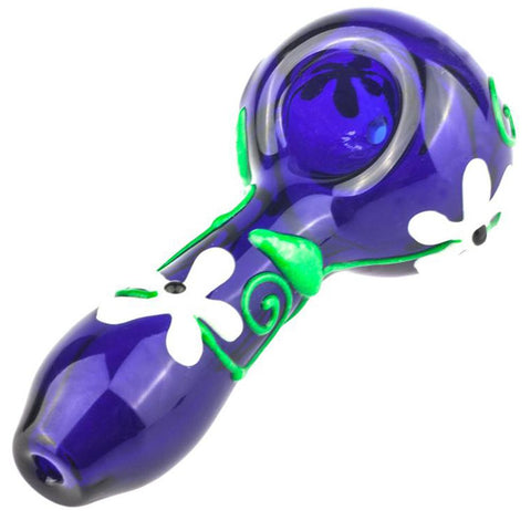 Glow In Dark Flower Glass Pipe | Weed Bowls For Sale | Free Shipping