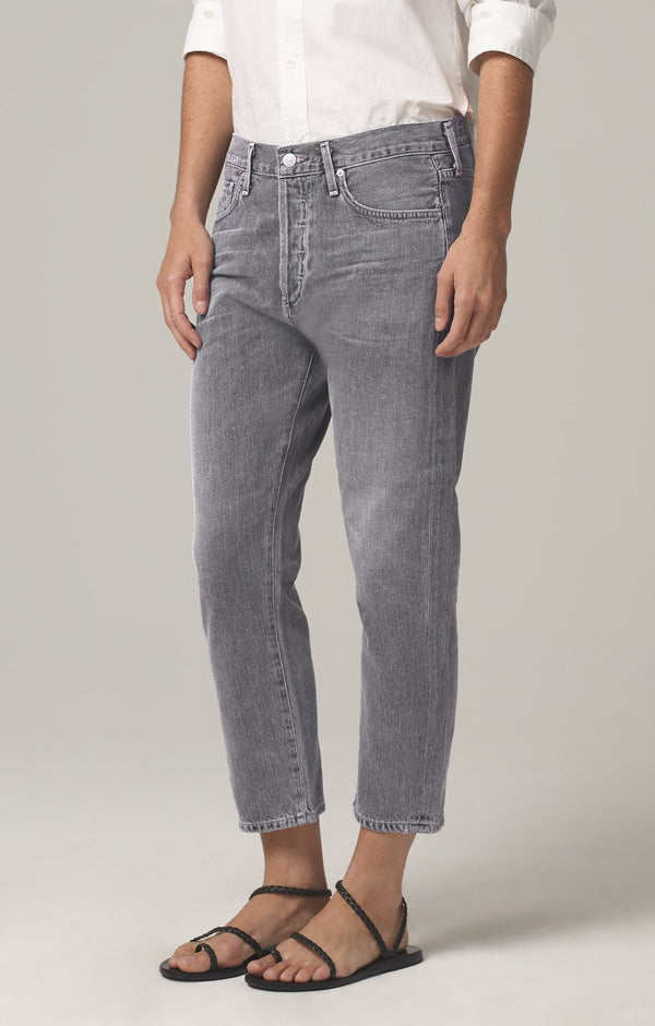 Corey Crop Slouchy Slim Fit in Smoke