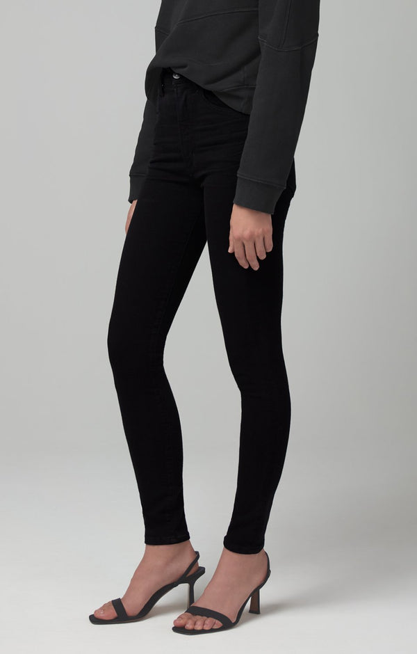 Chrissy High Rise Skinny Fit in Plush Black