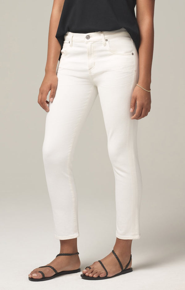 Elsa Mid Rise Slim Fit Crop in Sea Salt