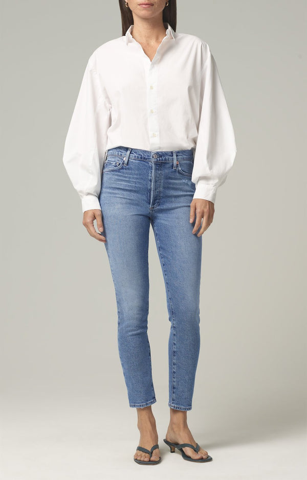 olivia high rise slim fit chit chat front