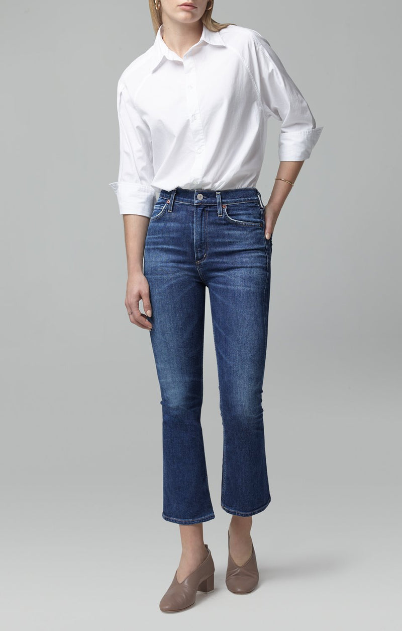 Demy Cropped Flare Denim in Clearwater