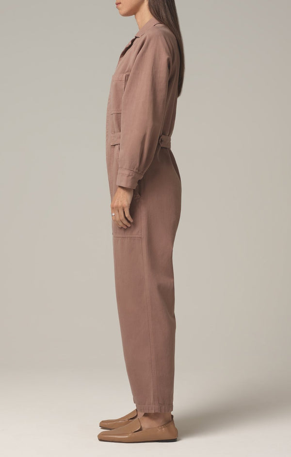shay easy side button jumpsuit redwood side