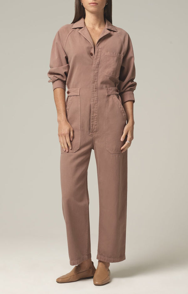 shay easy side button jumpsuit redwood front