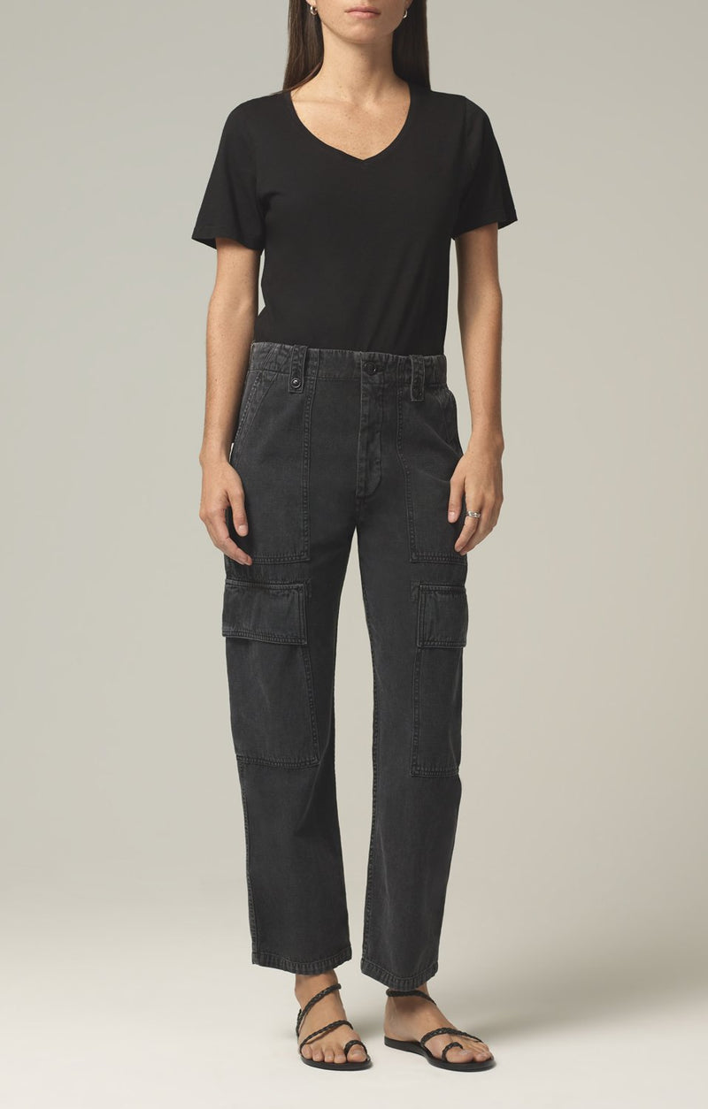 zadie high rise surplus pant washed black front